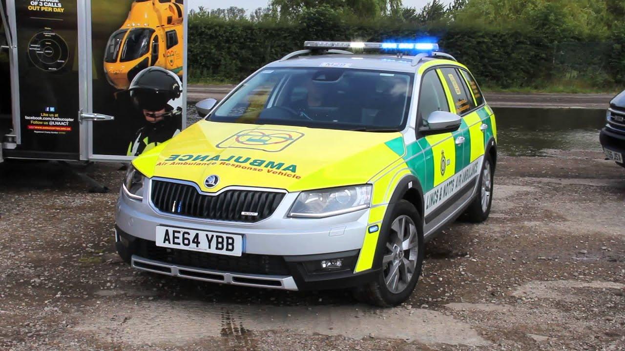 Lincs notts air ambulance skoda octavia scout rapid response vehicle lights siren and bullhorn