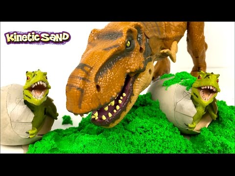 KINETIC SAND DINOSAUR EGG SURPRISE WITH TREX TRICERATOPS STEGASAURUS & DINO EGGS DIG IT OUT FOSSIL
