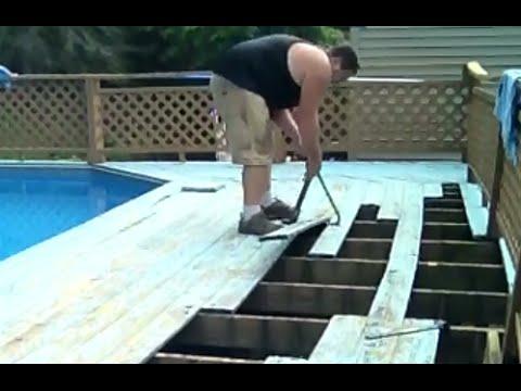 Diy Deck Board Repair Replacement For The Swimming Pool