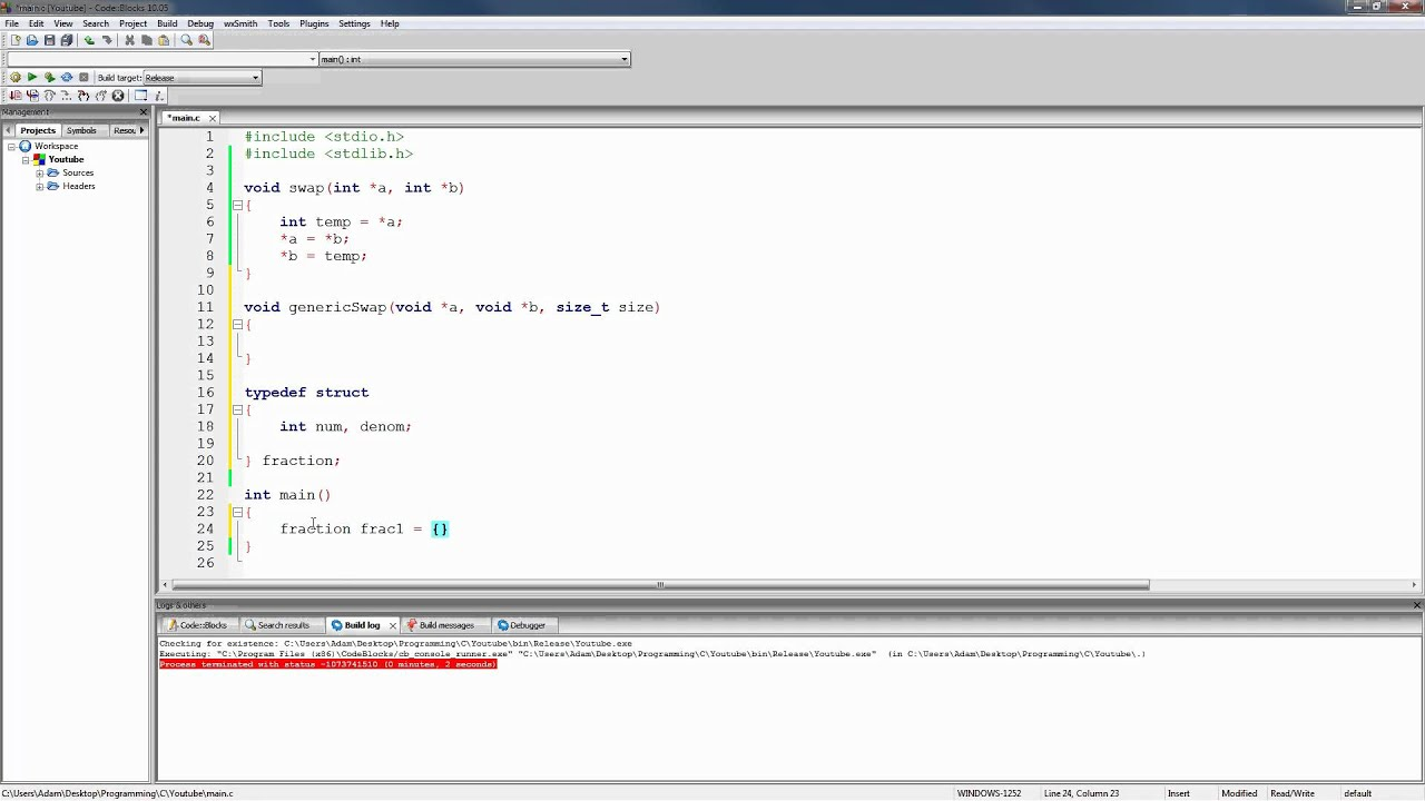 C Programming Tutorial 80 Writing A Generic Swap Function