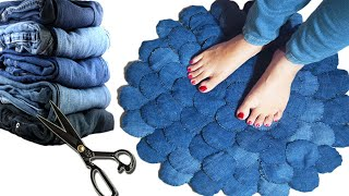 Amazing Doormat Using Old Jeans DIY l How To Make New Pattern Doormat l Jeans Hack