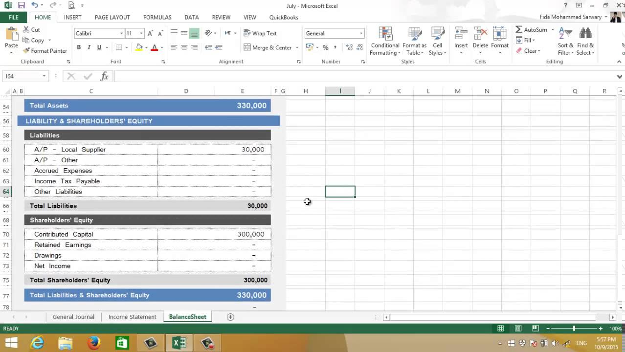 financial reporting excel