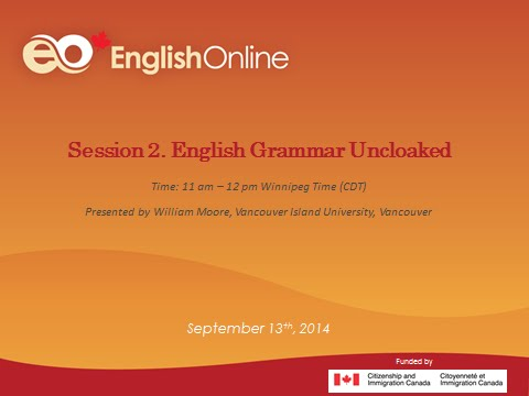 English Online September Webinar Session 2. English Grammar Uncloaked