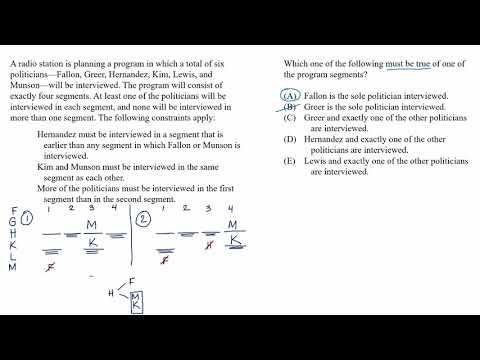 Mixed setup | Must be true example | Analytical Reasoning | LSAT | Khan Academy