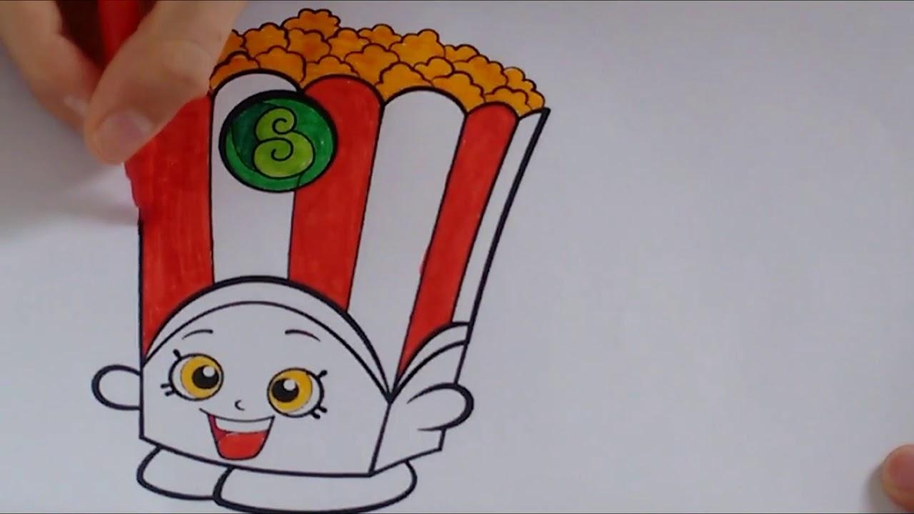 Como Pintar Pacotinho De Pipoca Shopkin Colorir Poppy Corn