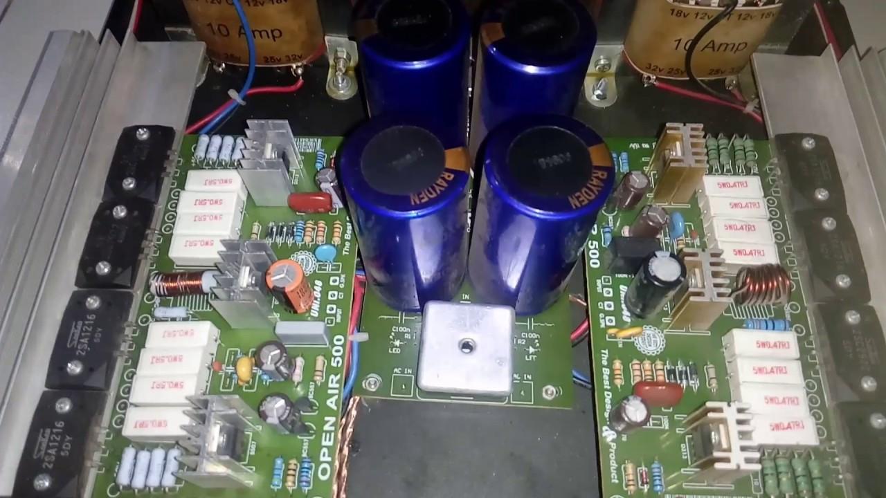 Power ampli open air 500 watt ×2 dengan TR final Sanken
