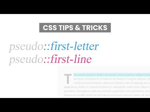 CSS Pseudo Classes | pseudo::first-letter and pseudo::first-line