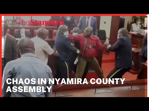 Chaos in Nyamira county assembly after Speaker Moffat Teya announced the suspension of 2 MCAs