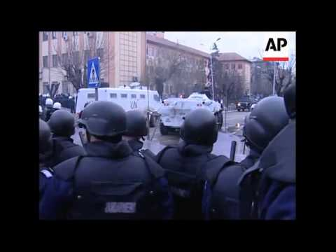 Riot police engage ethnic Albanian protesters