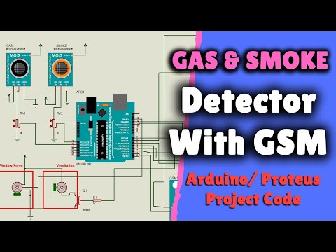 Gas and Smoke Detection With SMS Notification - Proteus Project Simulation