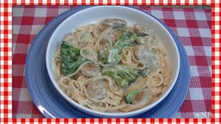 Chicken Sausage Fettuccine Alfredo Skillet Recipe ~ Noreen's Kitchen