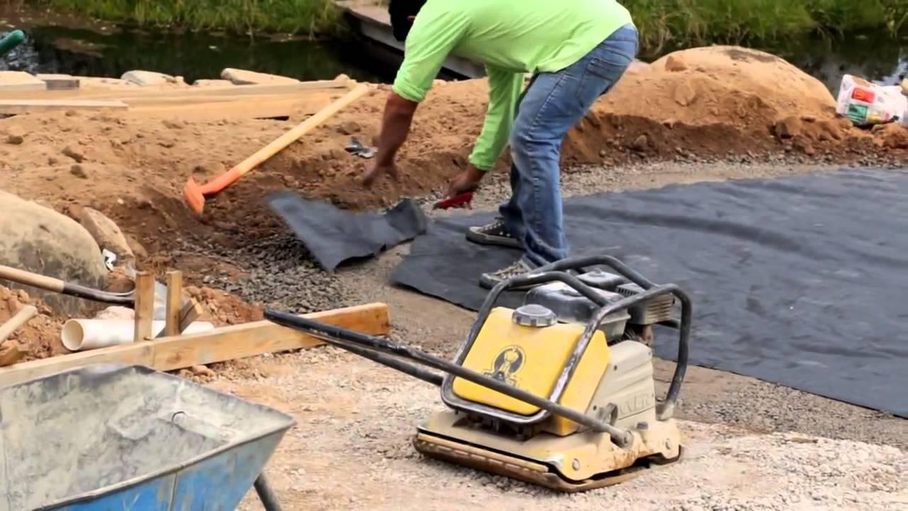 belgard paver installation driveway and backyard patio transformation youtube. Black Bedroom Furniture Sets. Home Design Ideas