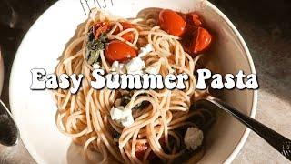 Summer Pasta Recipe  Basil Tomato Goat Cheese Spaghetti  Magically Katelyn