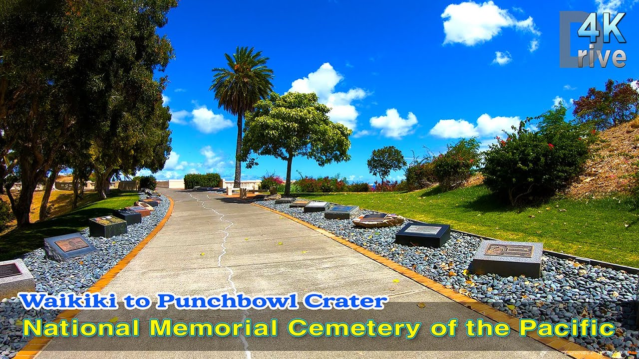 Hawaii Driving | Waikiki to the National Memorial Cemetery of the Pacific, Punchbowl Crater. | Oahu