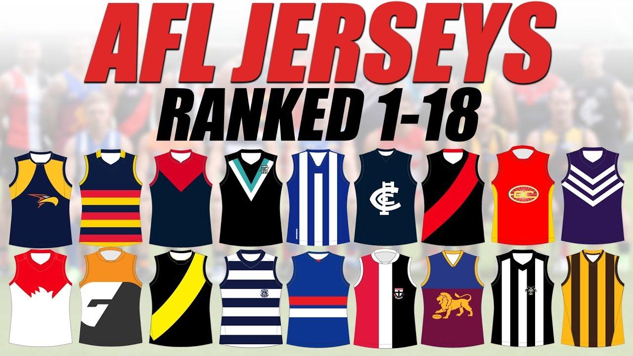 AFL Jerseys Ranked 1-18
