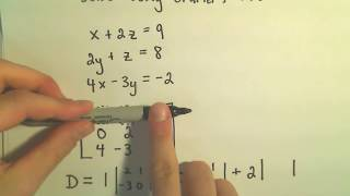 Cramer's Rule to Solve a System of 3 Linear Equations - Example 1