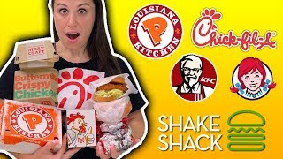 ONLY EATING Chicken Sandwiches for 24 HOURS // Popeyes VS ChickFilA VS Everything