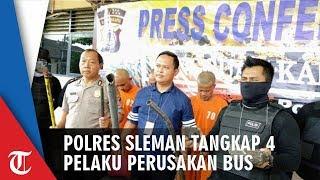 Kasus Perusakan Bus Antar Jaya Polres Sleman Tangkap 4 Pelaku