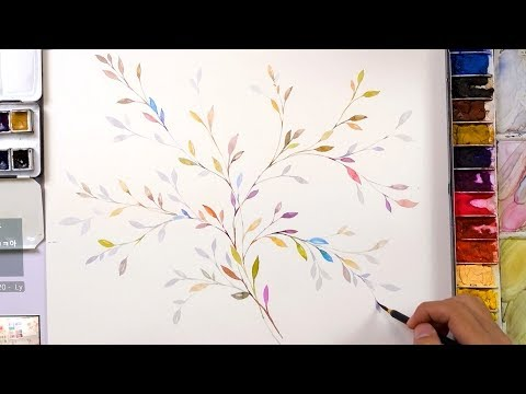 LVL1 How to paint simple and colorful leaves for beginners