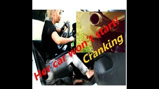 Girl can't start her car preview (Pedal pumping/ cranking)