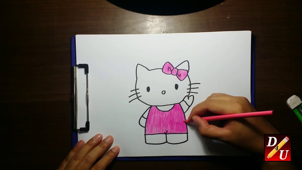 How To Draw Hello Kitty Cara Menggambar Hello Kitty Youtube