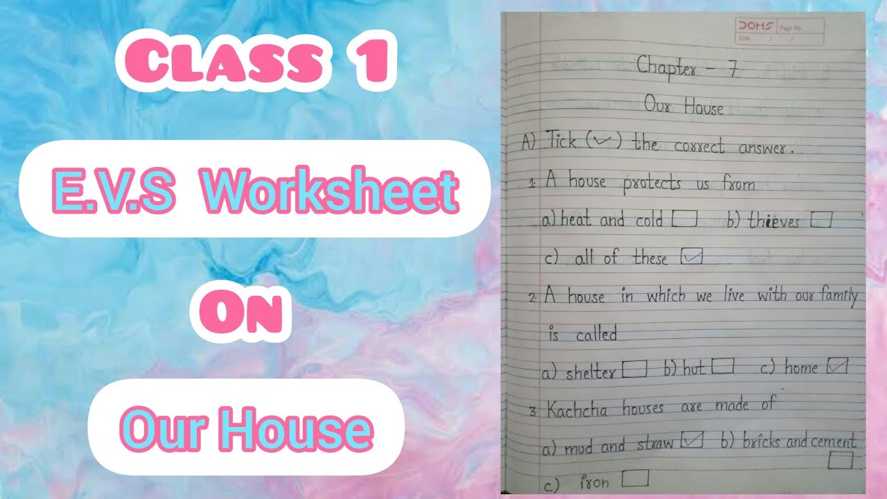 Class 1 E.V.S Worksheet   Chapter 7 - Our House   Part 2 - YouTube [ 720 x 1280 Pixel ]