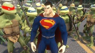 superman vs teenage mutant ninja turtles army