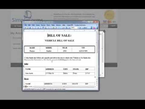 Motor Vehicle Bill Of Sale Template Creation - SimpleForms.org