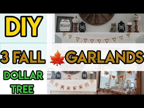 DIY DOLLAR TREE FALL DECOR~3 GARLANDS ~EASY DOLLAR TREE FALL GARLANDS ON A BUDGET