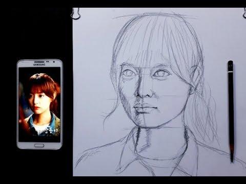 Hướng dẫn dựng hình chân dung từ điện thoại ra . cách dựng hình chân dung. Vẽ bút chì . HT Art