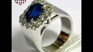 Handmade Gold Ring With Blue Sapphire And Diamonds