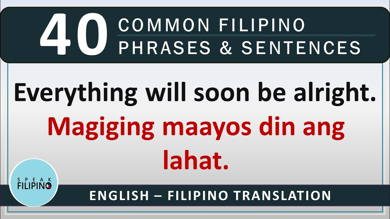 COMMONLY USED FILIPINO Phrases and Sentences! #10 (English-Tagalog)
