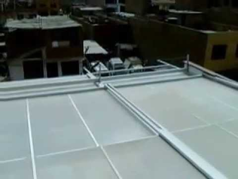 Techo de policarbonato en estructura de aluminio 1 2 youtube for Techos de policarbonato para jardin