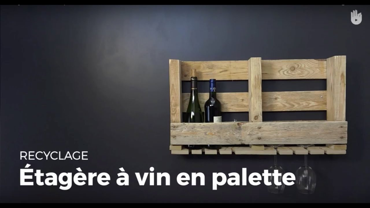 Cr er une tag re vin en palette recycler youtube for Etagere avec palette