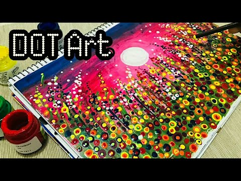 Abstract Dot Art Easy Flower Meadow Painting Easy Acrylic Painting Ideas For Beginners