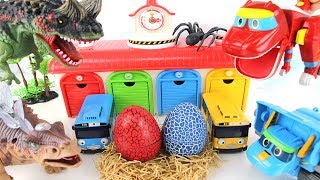 Dinosaurs Steal Eggs Of Tayo The Little Bus! GoGo Dino~ Make a happy ending. 고고다이노와 진짜 공룡의 대결!