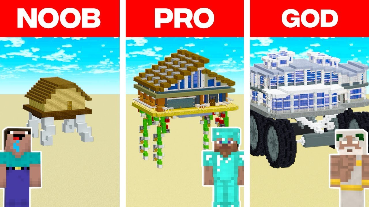 Minecraft Noob Vs Pro Vs God Modern Walking House Build Challenge In Minecraft Animation Youtube