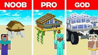 Minecraft NOOB vs. PRO vs. GOD: MODERN WALKING HOUSE BUILD CHALLENGE in Minecraft! (Animation)