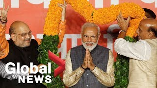 India's Prime Minister Modi speaks to supporters after big election win