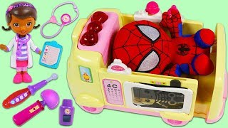 Spiderman Visits Doc McStuffins Toy Hospital for a Check Up!
