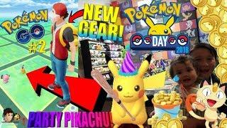 RARE PARTY HAT PIKACHU IN POKEMON GO! NEW TRAINER CLOTHS! POKECOIN SHOPPING SPREE! HAPPY POKEMON DAY