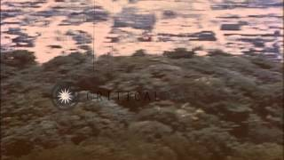 United States Army Air Force strafes the town of Tarumizo in Kyushu, Japan during...HD Stock Footage