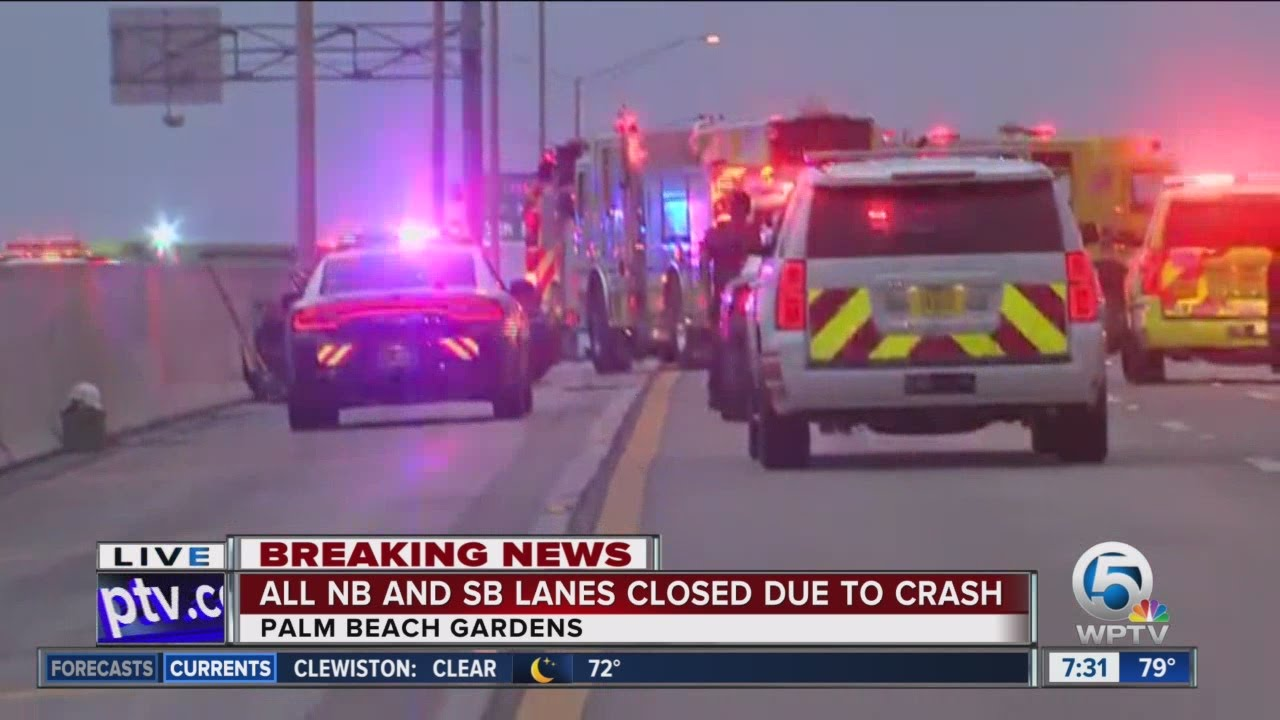 Tanker fire closes i 95 nb sb lanes in palm beach gardens youtube for Fire in palm beach gardens today