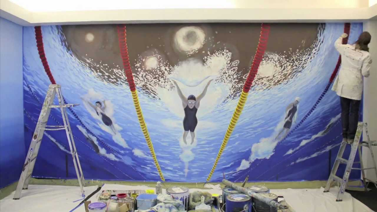 Gets Olympic Swimming Mural Time Lapse Video Youtube
