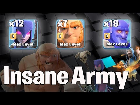 Insane Army 12 Witch 3 Jump Spell  7 Giant 19 Bowler 3Star Th11 Max Level   Best Th11 War Style 2018