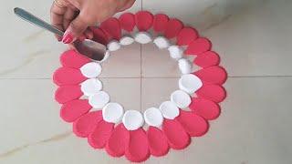 Very easy &quick rangoli designby using spoon जोआप भीबनालेंगे   Easy Kolam    Easy Muggulu -