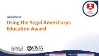 Using Segal AmeriCorps Education Award