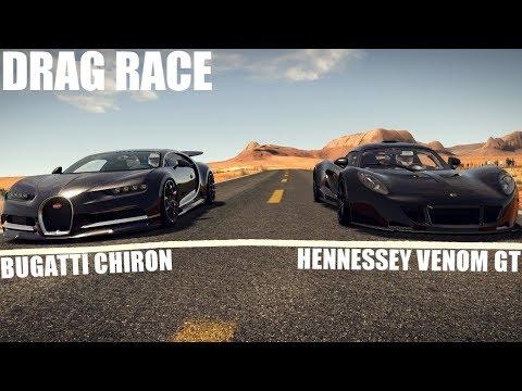 BUGATTI CHIRON VS HENNESSEY VENOM GT DRAG RACE | ASSETTO CORSA