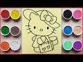 TÔ MÀU TRANH CÁT HELLO KITTY ĐI MUA SẮM - Colored sand painting Kitty shopping - Đồ chơi Chim Xinh