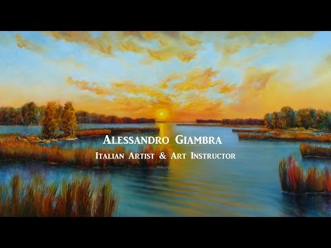 Marsh Sunset Land scape – (unveiling) – oil painting by Alessandro Giambra